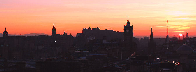 The sun just setting over Edinburgh, Picture Rob wilkinson, edinburgh